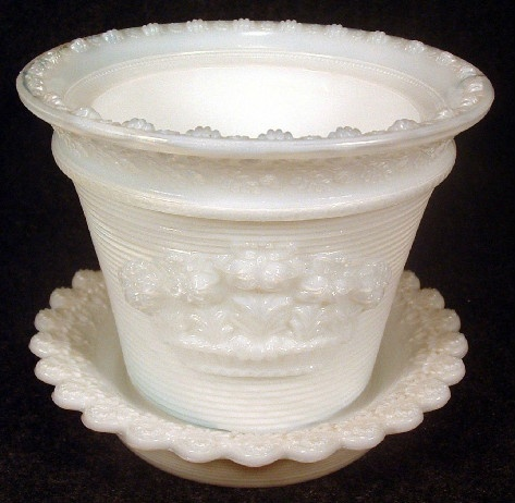 Metropolitan Museum of Art Reproduction - Opaline Sandwich Glass EAPG Plant Pot - Early 1980s