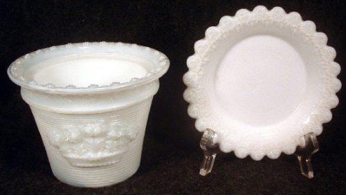 Metropolitan Museum of Art Reproduction - Opaline Sandwich Glass EAPG Plant Pot - Early 1980s