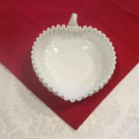 Large Heart Shaped Nappy - Probably Fenton Hobnail