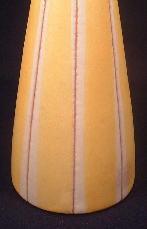 Eames Era - Yellow & White Striped Mid 20th Century Modern Pottery Vase
