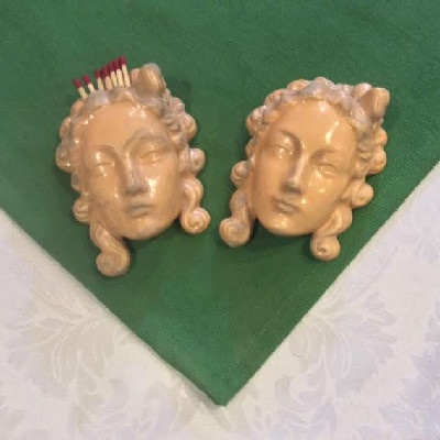 Chalkware Victorian Ladies Face - Wall Mounted Match Holder