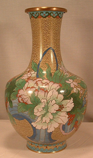 Chinese Cloisonne Vase - Basket of Flowers & Butterflies