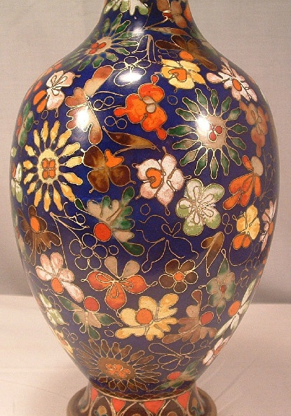Chinese Cloisonne Vase - Extremely Ornate w/ Many Flowers & Signed