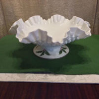 Hand Painted Holly - Large Footed Fenton Hobnail Milk Glass Bowl
