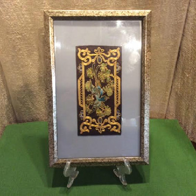 Chinese Embroidered Silk & Gold Thread Framed Panel - Blue Bird of Paradise