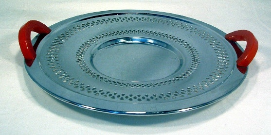 Mid Century (50s) Modern Reticulated Continental Chrome Red Bakelite Handled Tray
