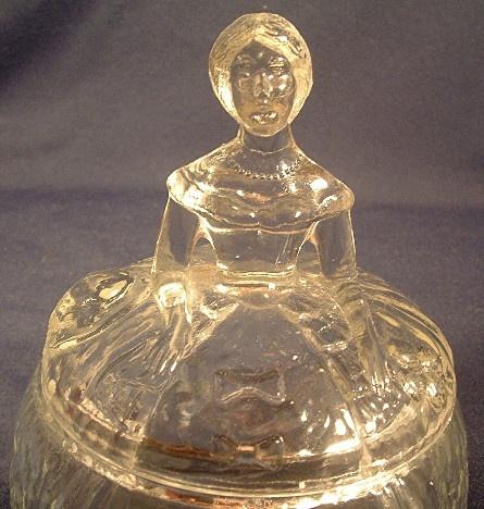 Crinoline Girl Clear Glass Figural Lidded Powder Jar / Trinket Box