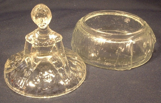Crinoline Girl Clear Glass Figural Lidded Powder Jar / Trinket Box