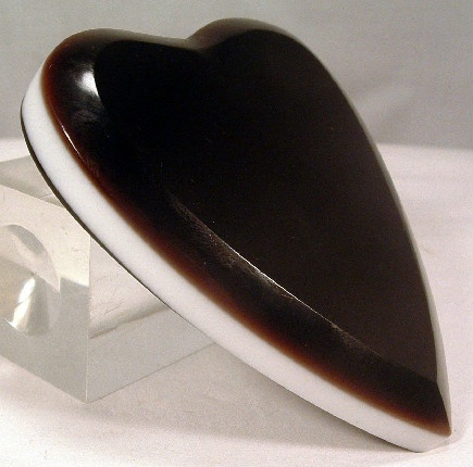 Amethyst & White Milk Glass Heart Shaped Paperweight
