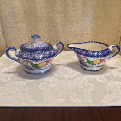 Blue Spatterware - Hand Painted - Peafowl Decorated Sugar & Creamer