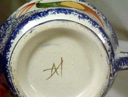 Blue Spatterware - Hand Painted - Peafowl Decorated Sugar & Creamer