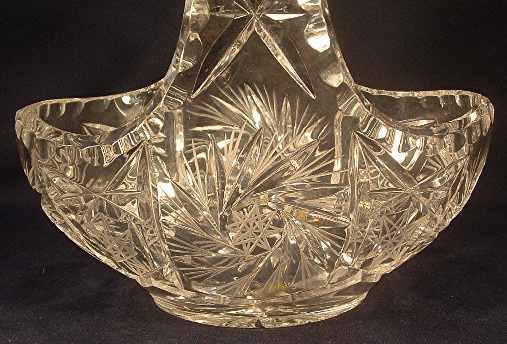Cut Lead Glass Basket w/ Original Lausitzer German Democratic Republic Label
