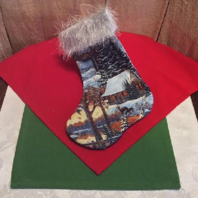 Deer & Cabin Christmas Stocking