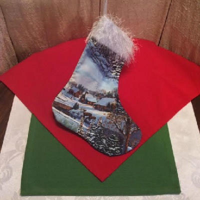 Deer & Cabin Christmas Stocking