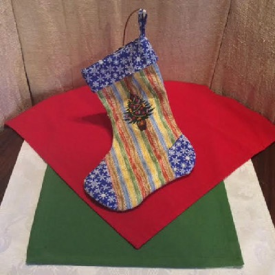 Embroidered Decorated Tree Christmas Stocking