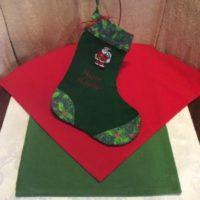 Happy Holidays w/ Santa Embroidered Christmas Stocking