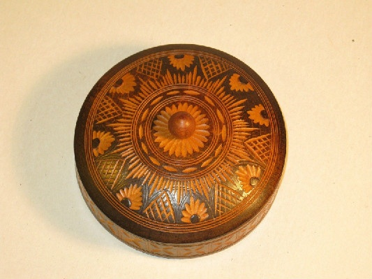 Round Wooden Salt Box w/ Carved Pattern On Top & Side