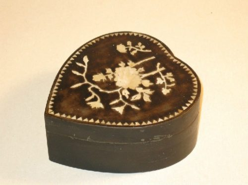 19th Century Heart Shaped Box w/ Inlaid Mother Of Pearl Decoration