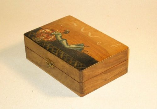 Cigar Box w/ Painted Top - Reclining Woman Using Long Cigarette Holder