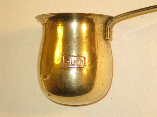 """Brass Rum Measure/Ladle w/ Copper """"RUM"""" Plaque"""