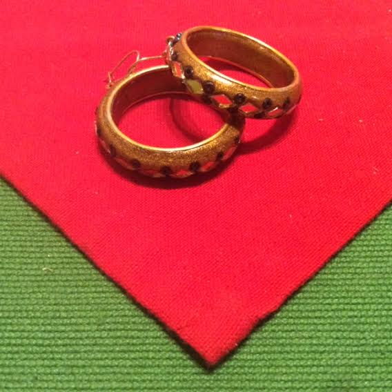 Gold Wooden Decorative Hoop Earrings - Dazzling Vintage Bling