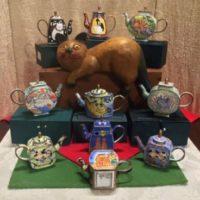 Enamel Copper Cloisonne Tea Pots - Signed & Unsigned Kelvin Chen Cats