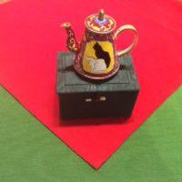 Kelvin Chen Style – Enamel Copper Cloisonne Tea Pot – Black Cat w/ White Cat