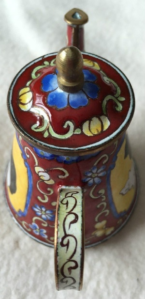 Kelvin Chen Style – Enamel Copper Cloisonne Tea Pot – Black Cat w/ White Cat