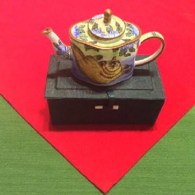 Kelvin Chen Style – Enamel Copper Cloisonne Tea Pot – Lounging Cat