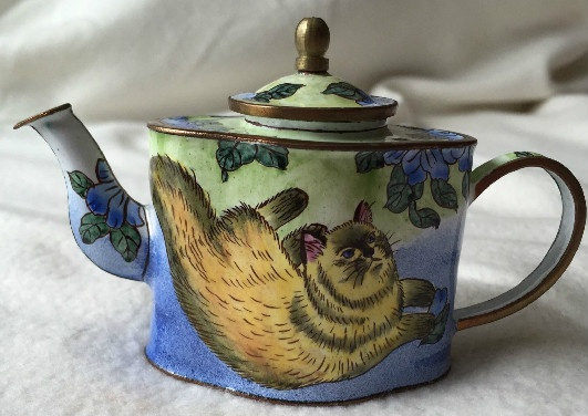 Kelvin Chen Style – Enamel Copper Cloisonne Tea Pot – Lounging Cat
