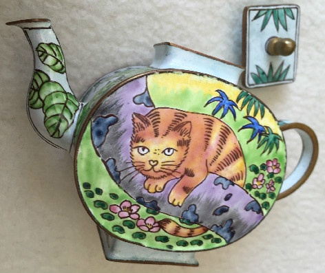 Kelvin Chen Style – Enamel Copper Cloisonne Tea Pot – Orange Cat On Limb