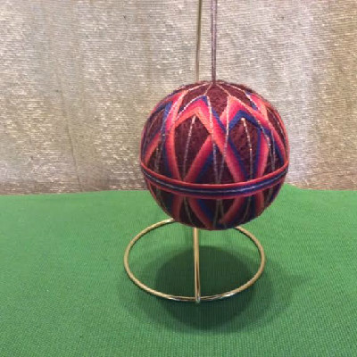 Temari Ball - Wine, Orange & Blue Diamonds - Large Japanese Thread Ball