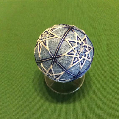 Temari Ball - Ice Blue Ball w/ Stars - Large Japanese Thread Ball