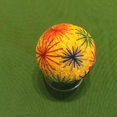 Temari Ball - Yellow Ball w/ Fireworks - Large Japanese Thread Ball
