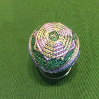 Temari Ball - Green w/ Woven Octagons - Large Japanese Thread Ball