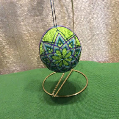 Temari Egg - Green Egg w/ 8 Point Mandalas - Large Japanese Thread Egg