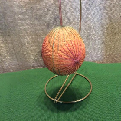 Temari Egg - Orange / Green Egg - Large Japanese Thread Egg