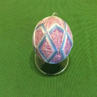 Temari Egg - Lavender Egg w/ Diamonds - Large Japanese Thread Egg