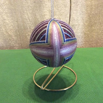 Temari Ball - Wine / Woven Lozenges - Large Japanese Thread Ball