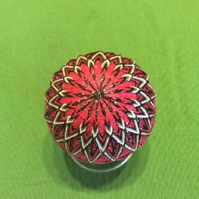 Temari Ball - Pink, Black & Silver Mandalas - Large Japanese Thread Ball