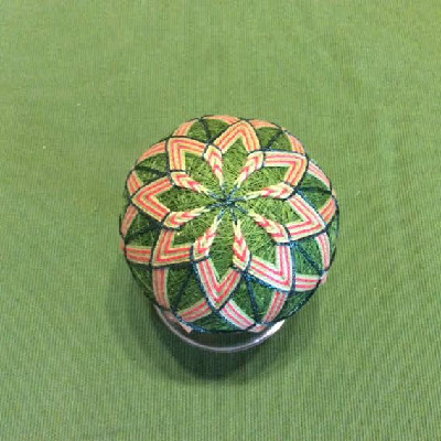 Temari Ball - Green & Orange Mandalas - Large Japanese Thread Ball