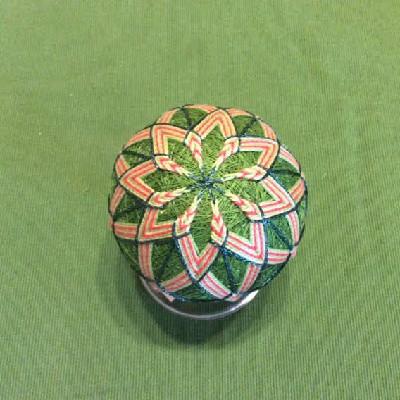 Temari Ball - Green & Orange Mandalas - Large Japanese Thread Ball