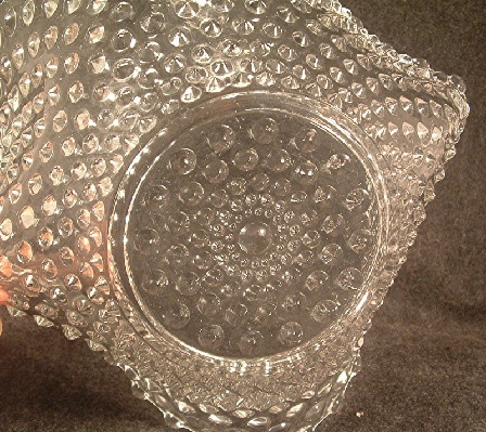 Hobnail Pattern Large Crimped Bowl - EAPG Vintage Hobbs