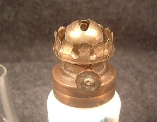 White Milk Glass - Miniature Kerosene Oil Lamp w/ Niagara Falls Scene