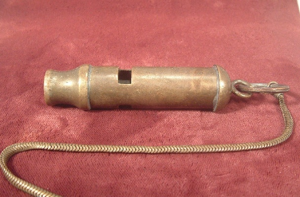 Brass Police/Military Whistle w/ Chain & Pocket Clip - Excellent Working Condition
