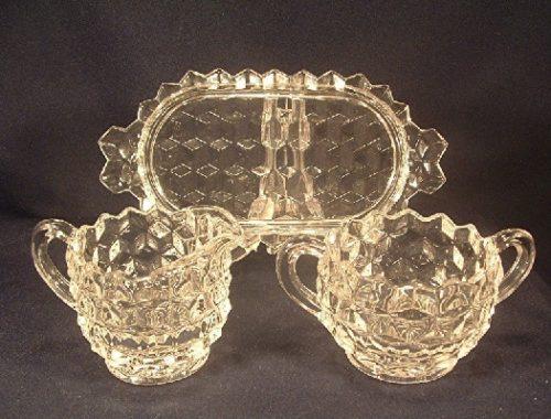 Fostoria Glass - American Pattern - Sugar & Creamer w/ Tray