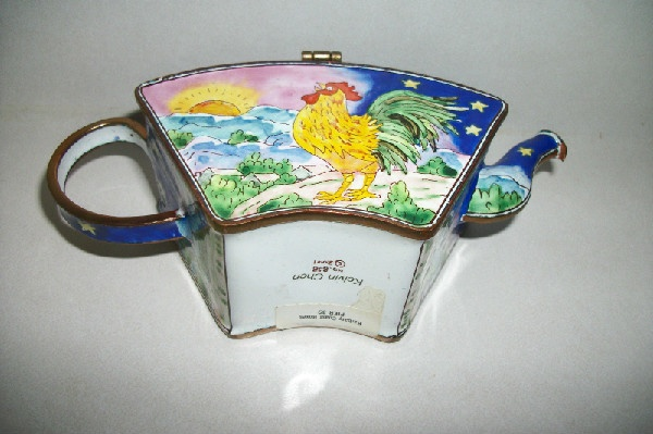 Kelvin Chen – Enamel Copper Cloisonne Tea Pot – Rooster Crowing At Sunrise - Signed