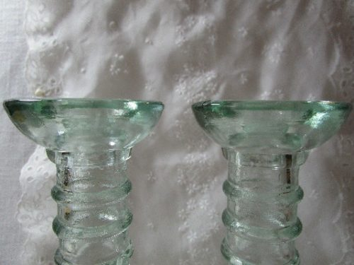 Ribbed - Light Green Glass Candlesticks - Vintage Pair