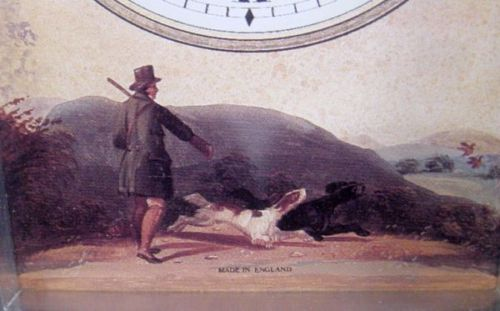 Carriage Clock w/ Hunt Scene & Simulated Burlwood Case - Ewd Dillon Waterford - England