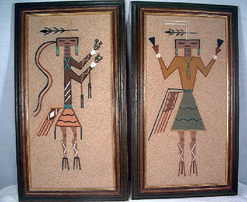 1968 - Navajo Sand Painting - From Harold Tregent's Comfort Store - Estes Park, Colorado - Vintage #1 & #2